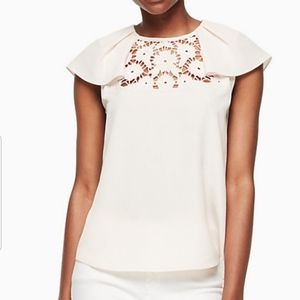 KATE SPADE XS Lace Embroidered Light Pink Top--NWT